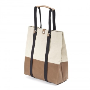 QWSTION - Shopper brown leather canvas
